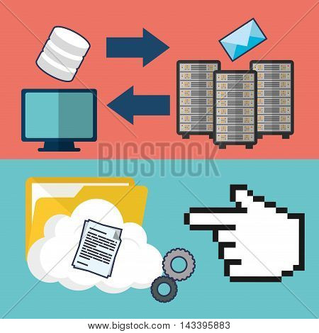 file folder document computer web hosting data center security system technology icon set. Colorful and flat design. Vector illustration