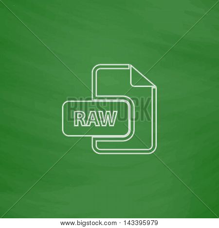 RAW Outline vector icon. Imitation draw with white chalk on green chalkboard. Flat Pictogram and School board background. Illustration symbol