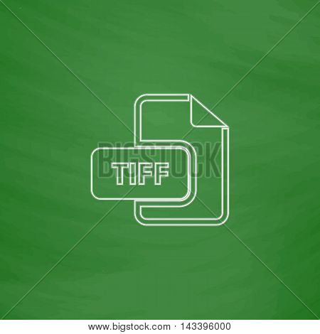 TIFF Outline vector icon. Imitation draw with white chalk on green chalkboard. Flat Pictogram and School board background. Illustration symbol