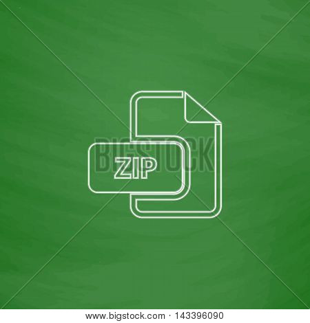 ZIP Outline vector icon. Imitation draw with white chalk on green chalkboard. Flat Pictogram and School board background. Illustration symbol