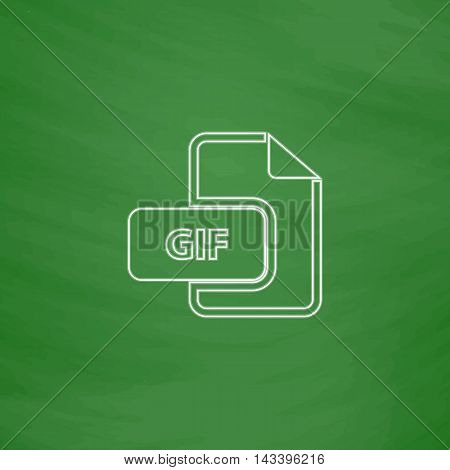GIF Outline vector icon. Imitation draw with white chalk on green chalkboard. Flat Pictogram and School board background. Illustration symbol