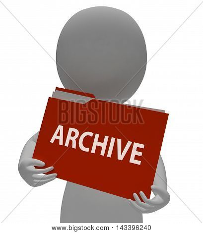 Archive Folder Shows Data Storage 3D Rendering