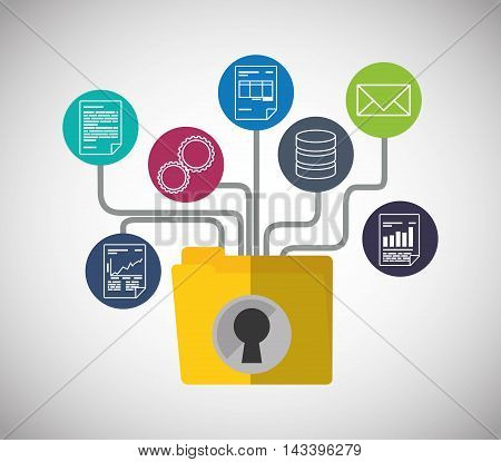 file folder document padlock web hosting data center security system technology icon set. Colorful and flat design. Vector illustration
