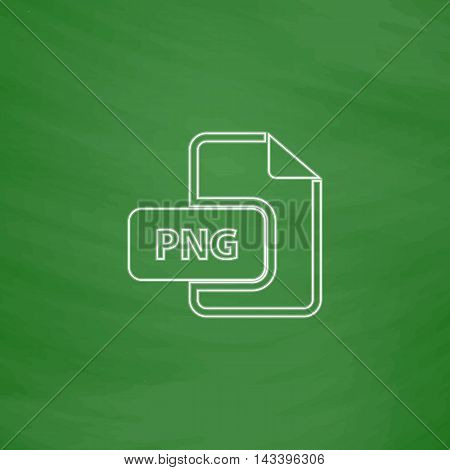 PNG Outline vector icon. Imitation draw with white chalk on green chalkboard. Flat Pictogram and School board background. Illustration symbol