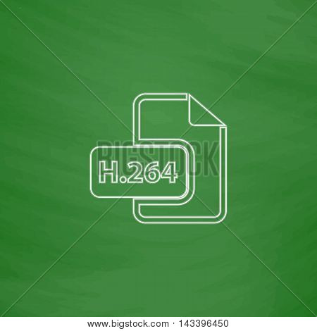 H.264 Outline vector icon. Imitation draw with white chalk on green chalkboard. Flat Pictogram and School board background. Illustration symbol