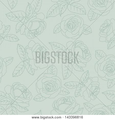 Seamless background with white outline roses on green background