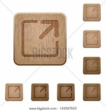 Set of carved wooden maximize window buttons in 8 variations.