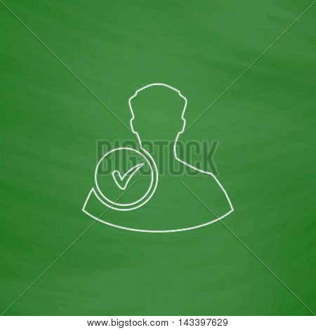 User Outline vector icon. Imitation draw with white chalk on green chalkboard. Flat Pictogram and School board background. Illustration symbol