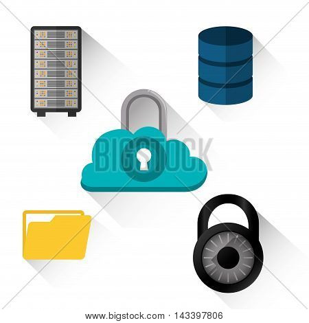 padlock file cloud computing web hosting data center security system technology icon set. Colorful and flat design. Vector illustration