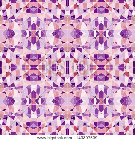Seamless Pattern Mosaic With Purple Pieces