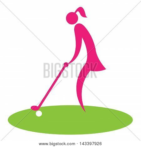 Woman Teeing Off Shows Golf Course Professional Golfer