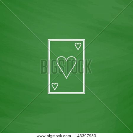 Hearts card Outline vector icon. Imitation draw with white chalk on green chalkboard. Flat Pictogram and School board background. Illustration symbol