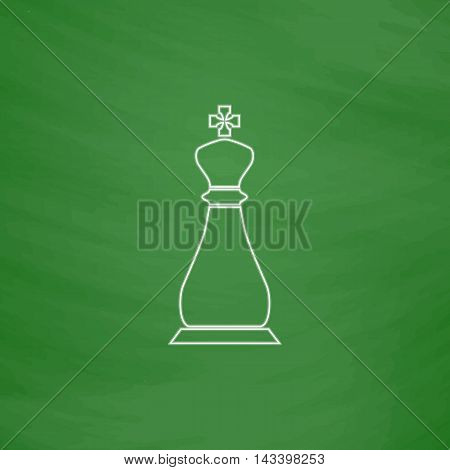 Chess king Outline vector icon. Imitation draw with white chalk on green chalkboard. Flat Pictogram and School board background. Illustration symbol