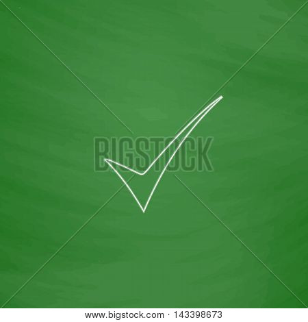 confirm Outline vector icon. Imitation draw with white chalk on green chalkboard. Flat Pictogram and School board background. Illustration symbol