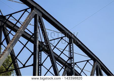 old rail way bridge vintage Metal railway bridge viaduct Bang Saphan Prachuab Thailand.