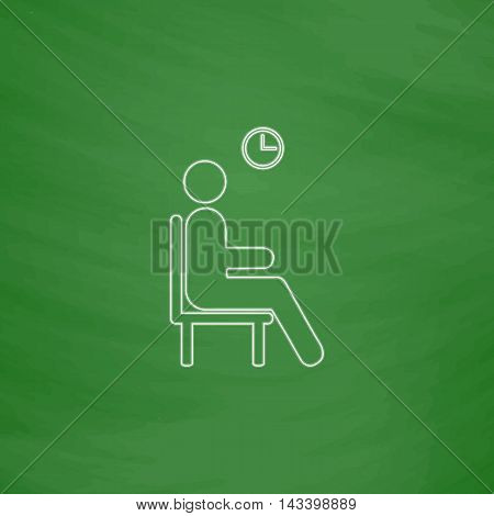 Waiting Outline vector icon. Imitation draw with white chalk on green chalkboard. Flat Pictogram and School board background. Illustration symbol