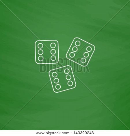 Lucky Outline vector icon. Imitation draw with white chalk on green chalkboard. Flat Pictogram and School board background. Illustration symbol
