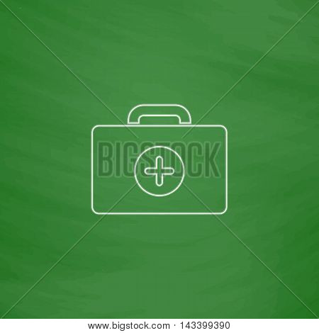 first aid kit Outline vector icon. Imitation draw with white chalk on green chalkboard. Flat Pictogram and School board background. Illustration symbol