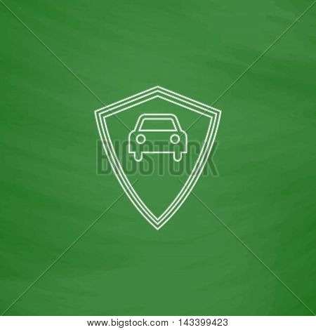 Car guard Outline vector icon. Imitation draw with white chalk on green chalkboard. Flat Pictogram and School board background. Illustration symbol