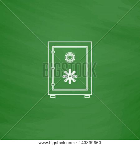 Safe Outline vector icon. Imitation draw with white chalk on green chalkboard. Flat Pictogram and School board background. Illustration symbol