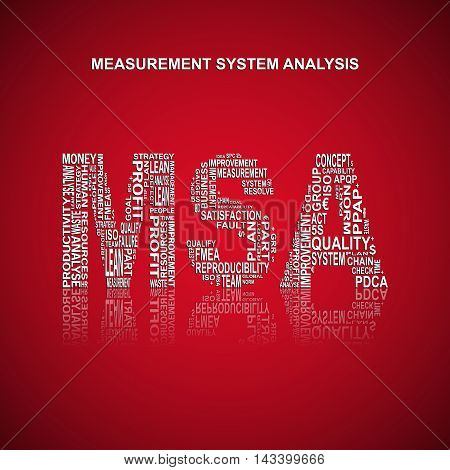 Measurement system analysis typography background. Red background with main title MSA filled by other words related with measurement system analysis method. Vector illustration