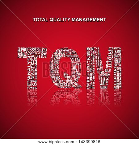 Total quality management typography background. Red background with main title TQM filled by other words related with total quality management method. Vector illustration
