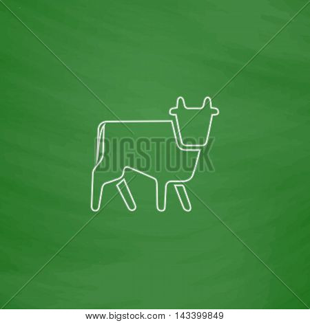 Cow Outline vector icon. Imitation draw with white chalk on green chalkboard. Flat Pictogram and School board background. Illustration symbol