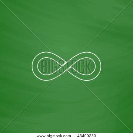 Infinity Outline vector icon. Imitation draw with white chalk on green chalkboard. Flat Pictogram and School board background. Illustration symbol