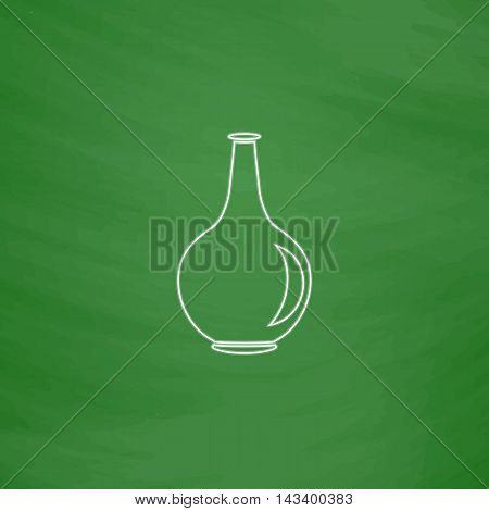 Amphora Outline vector icon. Imitation draw with white chalk on green chalkboard. Flat Pictogram and School board background. Illustration symbol
