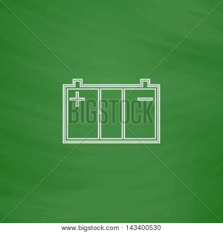 Car battery Outline vector icon. Imitation draw with white chalk on green chalkboard. Flat Pictogram and School board background. Illustration symbol