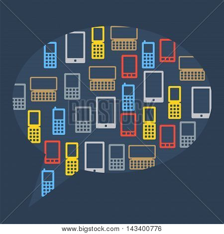 Abstract Bubble Of Flat Icons Phones