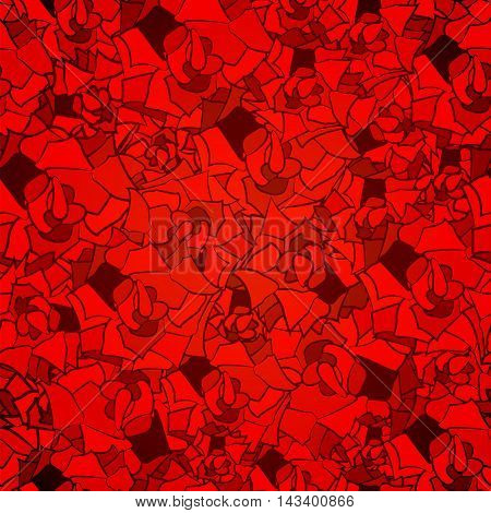 Abstract Seamless Pattern Of Red Pieces