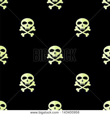 Skull Cross Bones Seamless Pattern. Skull Isolated on Black
