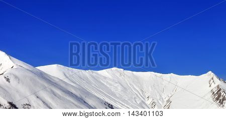 Panoramic View On Snowy Mountains At Nice Sun Day