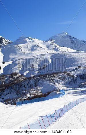 Ski in sunny day. Caucasus Mountains Mount Tetnuldi Svaneti region of Georgia.