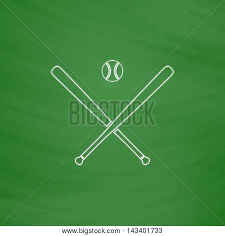 baseball Outline vector icon. Imitation draw with white chalk on green chalkboard. Flat Pictogram and School board background. Illustration symbol