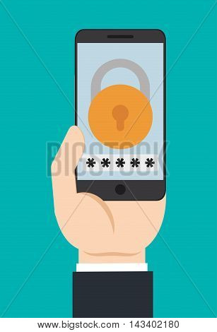 padlock smartphone cyber security system technology icon. Colorful and flat design. Vector illustration