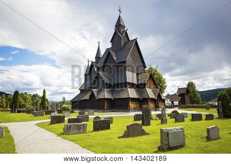 The old Heddal stave church in Telemark, Norway .Stave church is a medieval wooden Christian church building