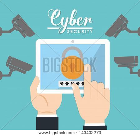 tablet cctv padlock cyber security system technology icon. Colorful and flat design. Vector illustration