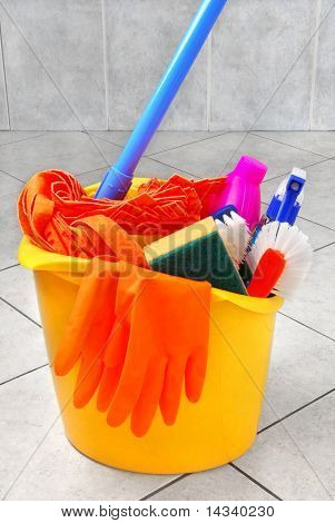 Bucket full of cleaning supplies