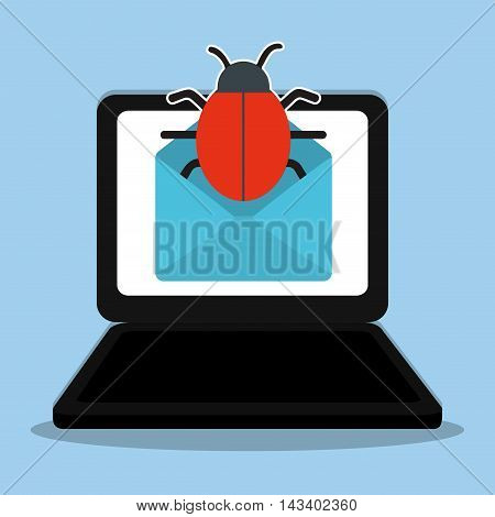 laptop bug envelope cyber security system technology icon. Colorful and flat design. Vector illustration