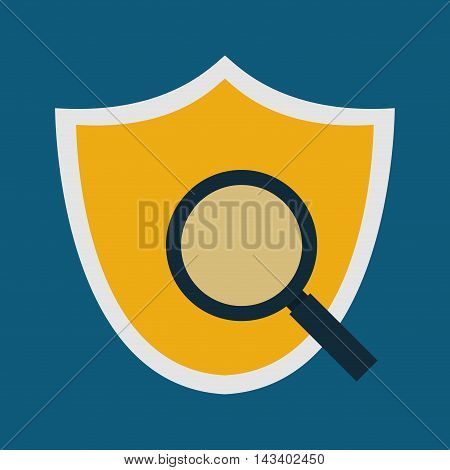 shield lupe cyber security system technology icon. Colorful and flat design. Vector illustration