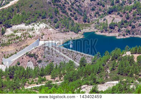 Kouris Dam With Reservoir, Cyprus