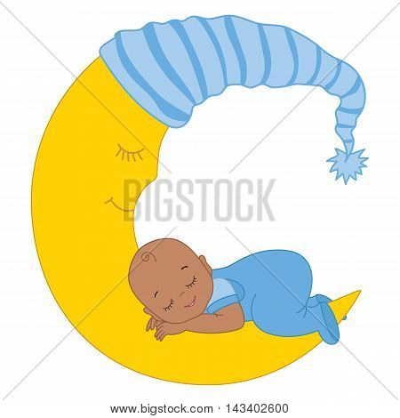 Vector African American baby boy sleeping on the moon