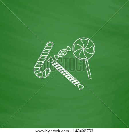 Sweets Outline vector icon. Imitation draw with white chalk on green chalkboard. Flat Pictogram and School board background. Illustration symbol