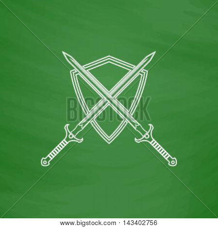 heraldry Outline vector icon. Imitation draw with white chalk on green chalkboard. Flat Pictogram and School board background. Illustration symbol