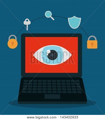 padlock laptop key eye shield lupe cyber security system technology icon. Colorful and flat design. Vector illustration