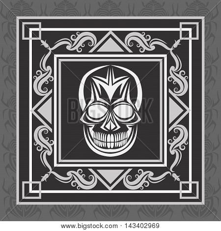 skull tattoo face gothic death evil icon. Colorful and frame design. Vector illustration