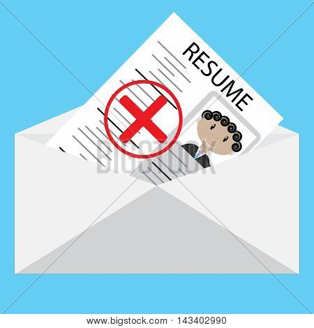 Negative answer to resume. Message envelope with containing a negative solution. Vector illustration