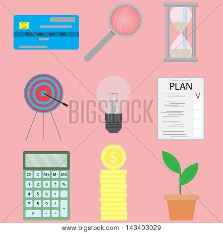 Business and finance icons set. Finance concept in flat style money and goal. Vector illustration